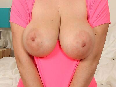 Busty amateur shows off her huge saucer nipples