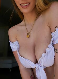 Busty blonde with saucer nipples getting fucked
