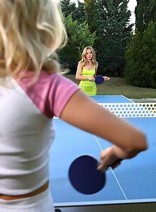 Blonde lesbians cuddling in the backyard