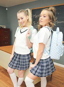 Lucky guy gets to fuck 2 blonde schoolgirls in class