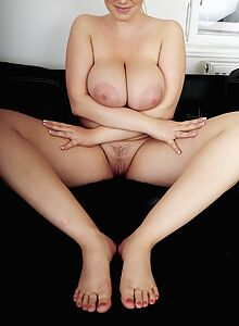 Chubby blonde shows off her big natural boobs