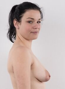 Casting pics of a cute black-haired girl with huge saucer nipples